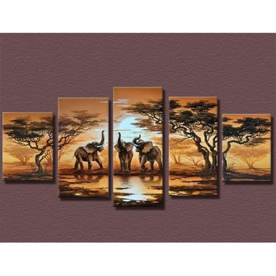 5 Panels Diamond Painting - Elefanten - Schwimmende Stile - Diamantstickerei - Malen mit Diamant