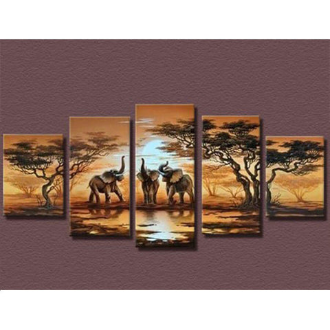 5 Panels Diamond Painting - Elephants - Floating Styles - Diamond Embroidery - Paint With Diamond