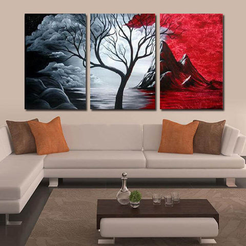 Afbeelding van 3-panelen Diamond Painting - Tree - Red & Black - Drijvende stijlen - Diamond Embroidery - Paint With Diamond