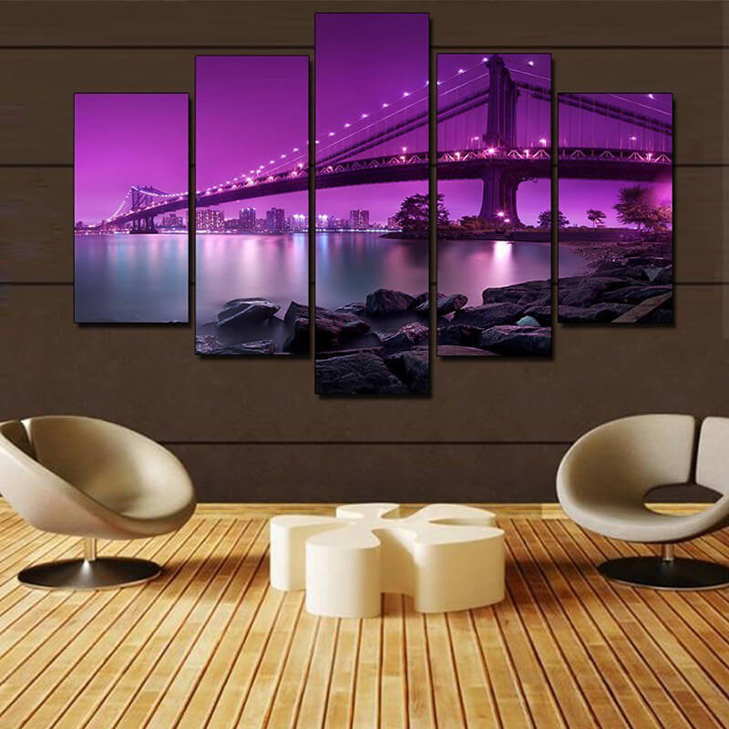 5 Panels Diamond Painting - Brücke bei Nacht - Floating Styles - Diamantstickerei - Malen mit Diamant