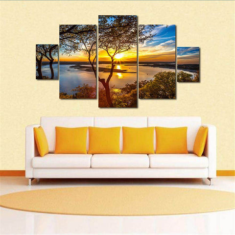 Afbeelding van 5-panelen Diamond Painting - Sunset By The Lake - Drijvende stijlen - Diamond Embroidery - Paint With Diamond