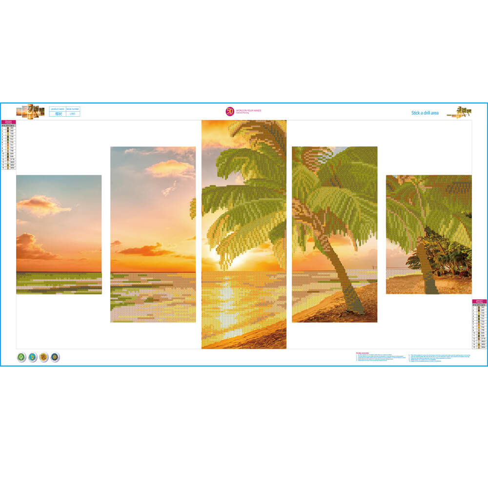 5 Panels Diamond Painting - Coastal Beach Sunset - Estilos flotantes - Bordado de diamantes - Pintura con diamante