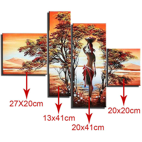 5 Panels Diamond Painting - Fantasy Girl By The Lake - Floating Styles - Diamond Embroidery - Paint With Diamond