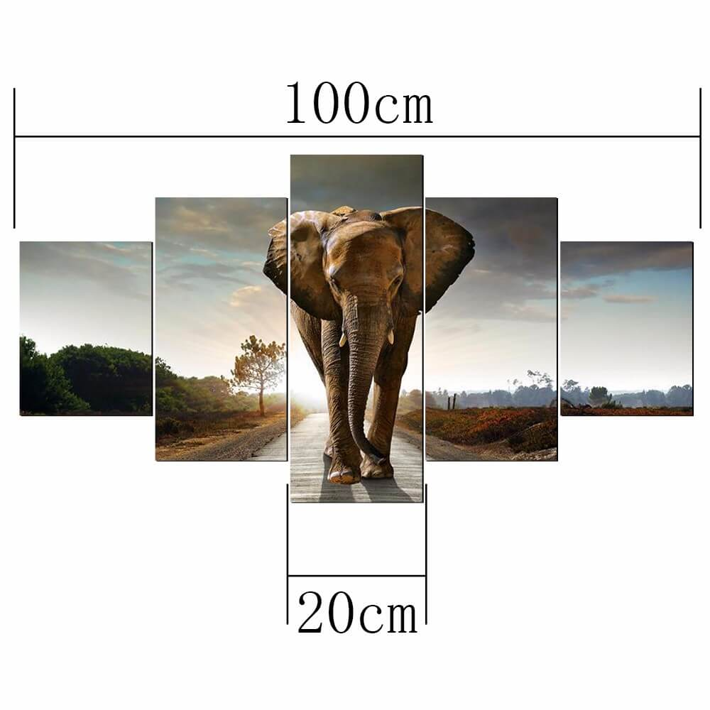5 Panels Diamantmalerei - Elefant - Floating Styles - Diamantstickerei - Malen mit Diamant