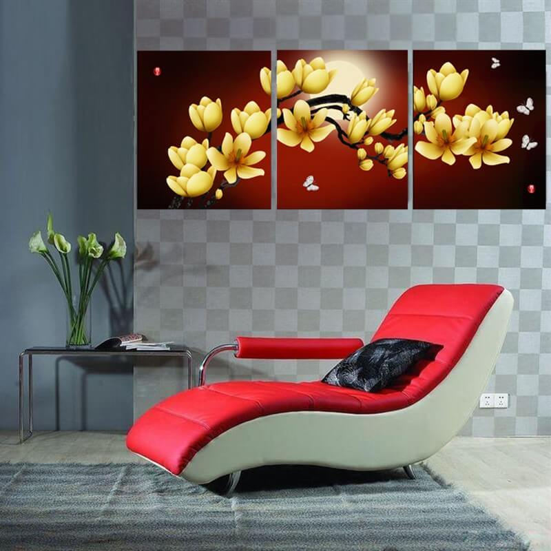 3 Panels Diamond Painting - Yellow Orchid - Floating Style - Diamond Haft - Paint With Diamond