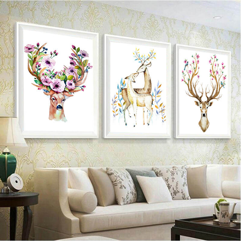 3 Painéis Diamond Painting - Elegant Dears - Estilos Flutuantes - Diamond Embroidery - Paint With Diamond
