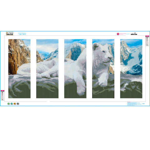 5 Panels Diamond Painting - A Snow Lion - Floating Styles - Diamond Embroidery - Paint With Diamond