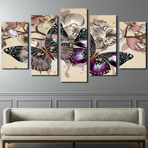 5 Panels Diamond Painting - Two Butterflies - Floating Styles - Diamond Embroidery - Dipingi con diamante