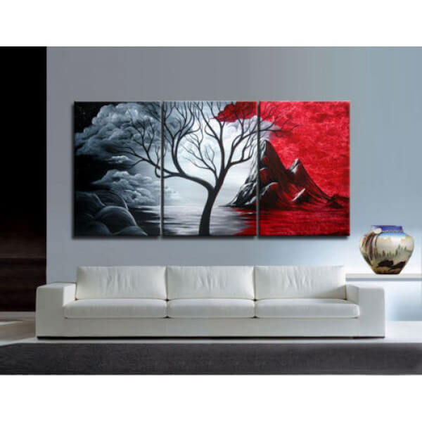 3 Panels Diamond Painting - Baum - Rot & Schwarz - Schwimmende Stile - Diamantstickerei - Malen mit Diamant