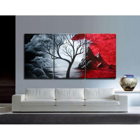3 Panelen Diamond Painting - Tree - Rood en zwart - Drijvende stijlen - Diamond Embroidery - Paint With Diamond