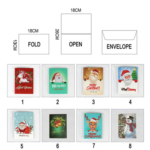 Image of Christmas Diamond Painting Greeting Card Set - Floating Styles - Diamond Embroidery - Paint With Diamond