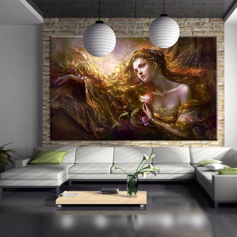 Resim Diamond Painting - Pretty Lady - Yüzen Stiller - Diamond Embroidery - Diamond ile Boya