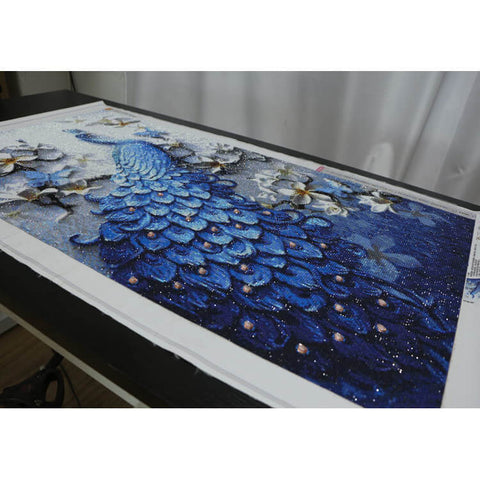 Image of Diamond Painting - Peacock And Flowers - Floating Styles - Diamond Embroidery - Paint With Diamond