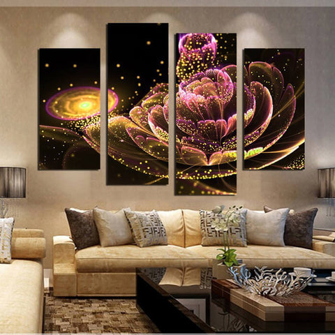 5 Panels Diamond Painting - Un paradiso in un fiore selvaggio - Stili fluttuanti - Ricamo a diamante - Dipingi con diamante