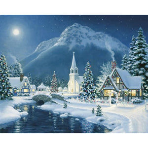 Diamond Painting - White Christmas Village