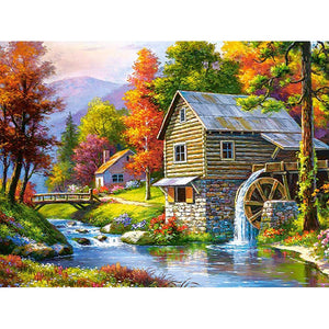 Diamond Painting - Cabin in the Autumn Forest - Floating Styles - Diamond Embroidery - Paint With Diamond