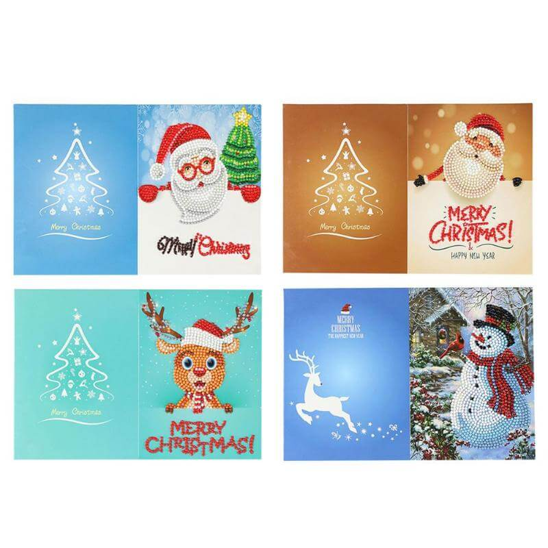 Christmas Diamond Painting Greeting Card Set - Floating Styles - Diamond Embroidery - Paint With Diamond