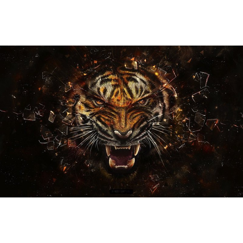 Diamond Painting - Angry Tiger Roar - Floating Styles - Diamond Embroidery - Paint With Diamond