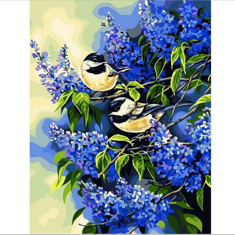 Immagine di Paint by Numbers - Snapdragons e Birds - Stili fluttuanti - Ricamo a diamante - Dipingi con diamante