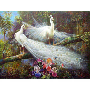 Diamond Painting - Peacock In The Forest - Floating Styles - Diamond Embroidery - Paint With Diamond