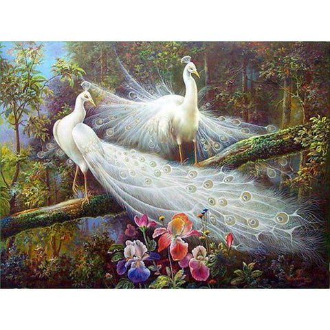 Diamond Painting - Peacock In The Forest - Floating Style - Diamond Haft - Paint With Diamond
