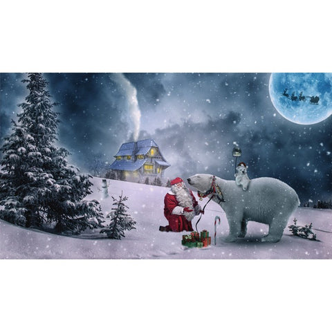 Image of Diamond Painting - Santa and Bear in the Snow