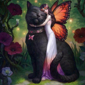 Diamond Painting - Fairy & Her Black Cat - Drijvende stijlen - Diamond Embroidery - Paint With Diamond
