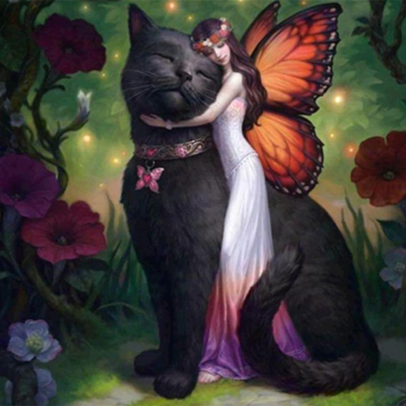 Diamond Painting - Fairy & Her Black Cat - Floating Styles - Diamond Embroidery - Paint With Diamond