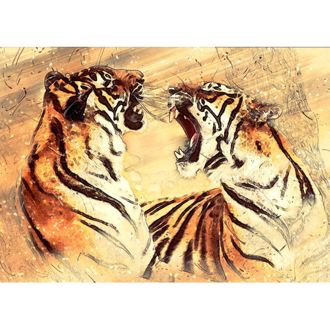 Bilde av Diamond Painting - Tiger Fight