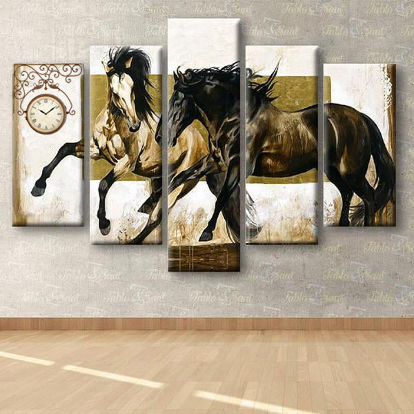 5 Panels Diamond Painting - Horses - Floating Style - Diamond Haft - Paint With Diamond