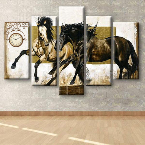 Imagem de 5 Painéis Diamond Painting - Horses - Estilos Flutuantes - Diamond Embroidery - Paint With Diamond