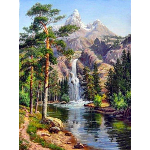 Diamond Painting - Mountain Waterfall - Drijvende stijlen - Diamond Embroidery - Paint With Diamond
