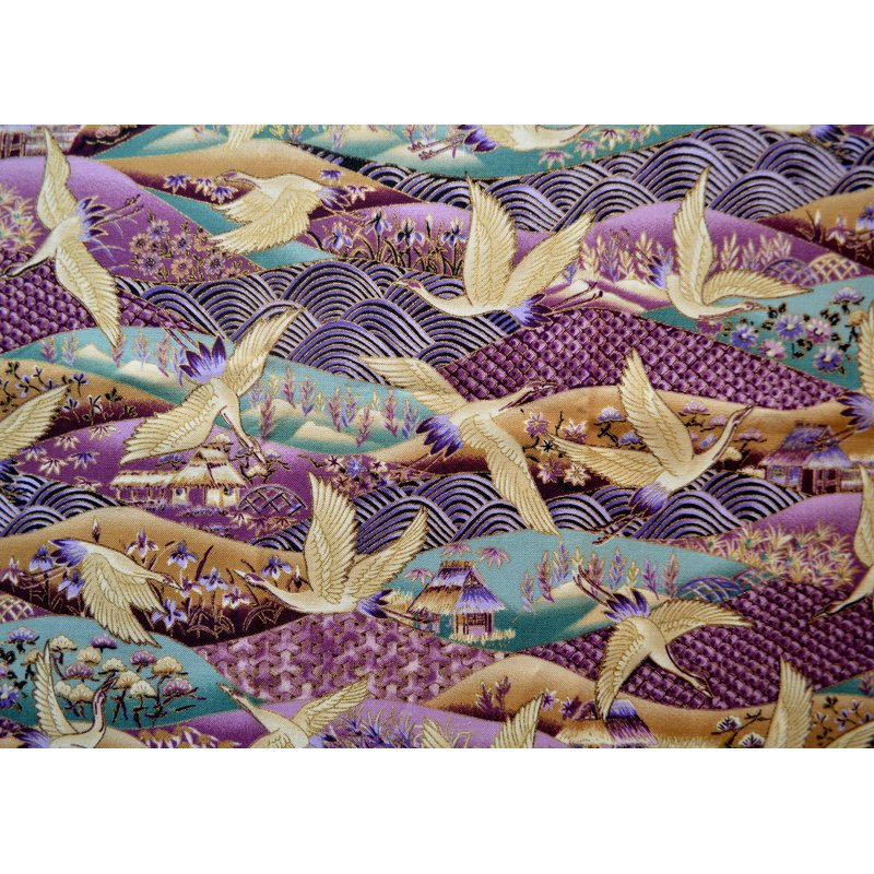 Diamond Painting - Japanese Crane Textile Pattern - Floating Styles - Diamond Embroidery - Paint With Diamond