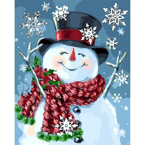 Image of Diamond Painting - Merry Snowman - Floating Styles - Diamond Embroidery - Paint With Diamond