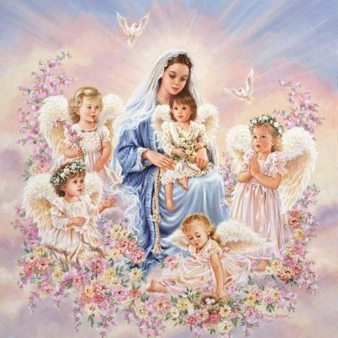 Image of Diamond Painting - Mama Mary with Angels - Floating Styles - Diamond Embroidery - Paint With Diamond