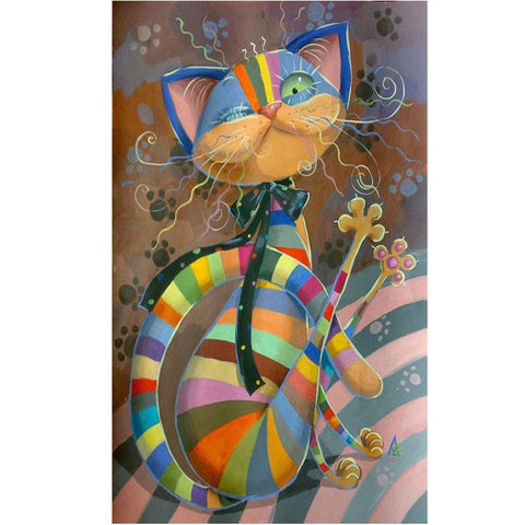 Image of Diamond Painting - Color Stripe Cat - Floating Styles - Diamond Embroidery - Paint With Diamond