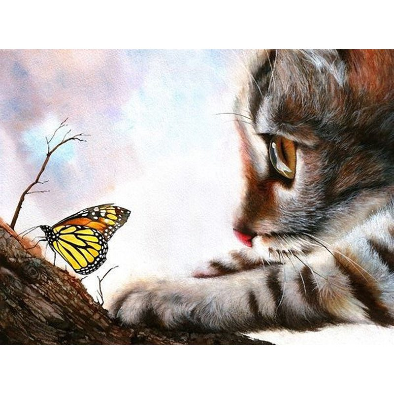 Diamond Painting - Butterfly With Little Cat - Floating Styles - Diamond Embroidery - Paint With Diamond
