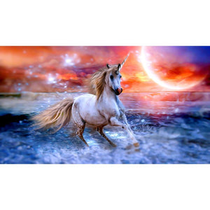 Diamond Painting - Dream Unicorn in the Sunset - Drijvende stijlen - Diamond Embroidery - Paint With Diamond