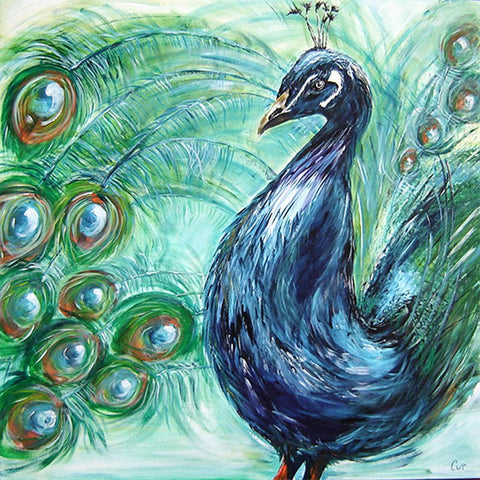 Diamond Painting - Green Peacock - Floating Styles - Diamond Embroidery - Paint With Diamond
