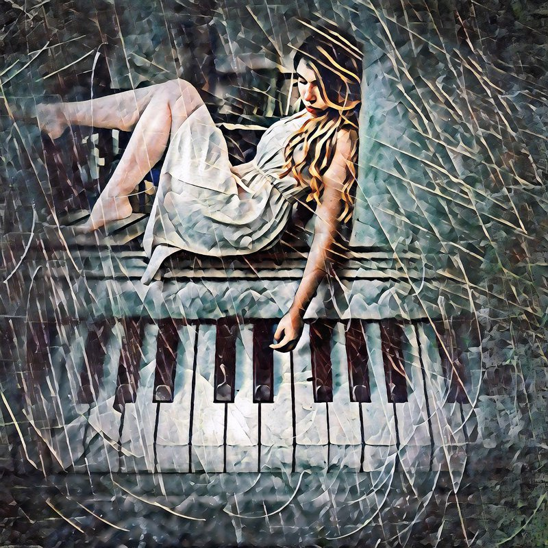 Diamond Painting - Girl and Piano - Floating Styles - Diamond Embroidery - Paint With Diamond