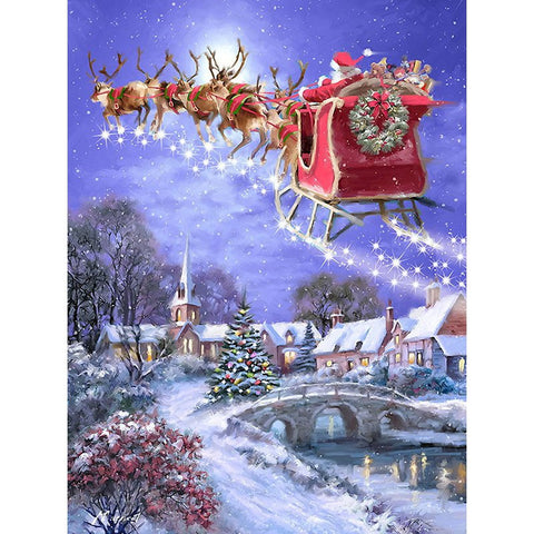 Diamond Painting - Santa's Sleigh Through the Night Sky - Floating Styles - Diamond Embroidery - Paint With Diamond