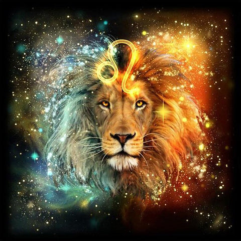 Bild der Diamantmalerei - Lion Leo - Floating Styles - Diamantstickerei - Malen mit Diamant