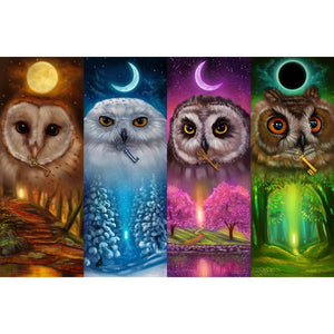 Diamond Painting - Four Season Owl - Floating Styles - Diamond Embroidery - Paint With Diamond