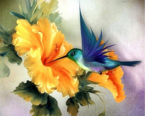 Diamond Painting - Blue Hummingbird - Floating Style - Diamond Haft - Paint With Diamond