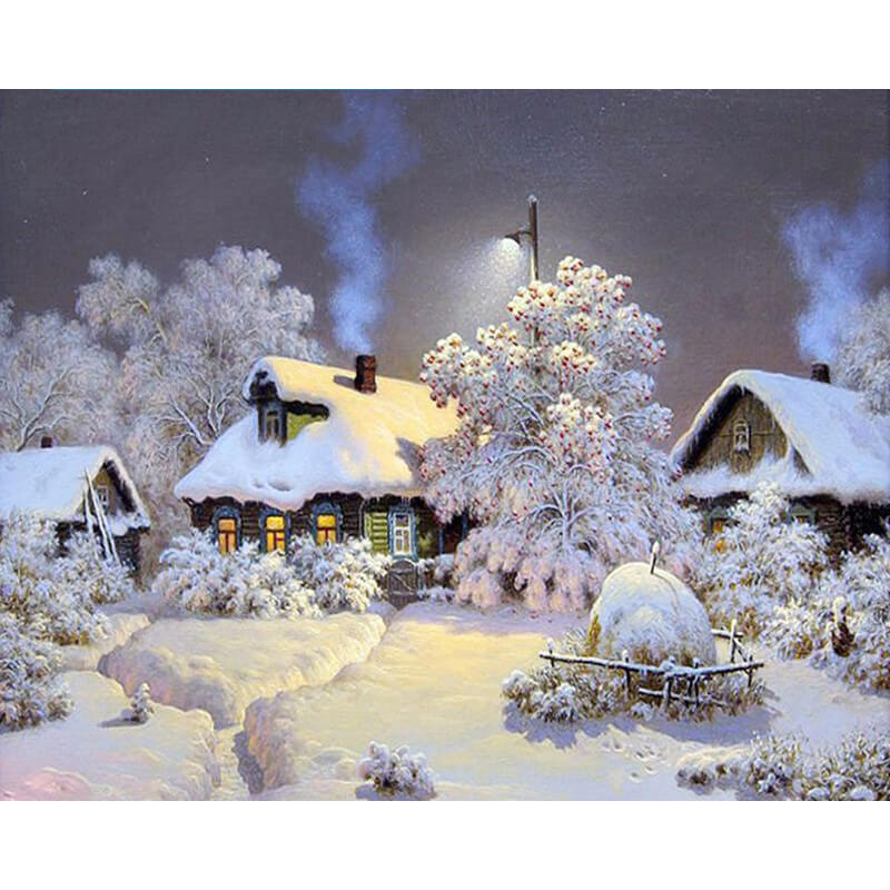 Diamond Painting Winter Snowy Cabin - Floating Style - Diamond Haft - Paint With Diamond