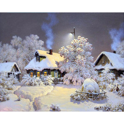 Bilde av Diamond Painting Winter Snowy Cabin - Flytende Stiler - Diamond Broderi - Maling Med Diamond