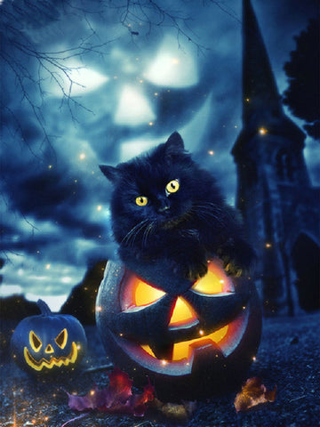 Obraz malarstwa diamentowego - Little Halloween Black Cat - Floating Style - Diamentowy haft - Paint With Diamond
