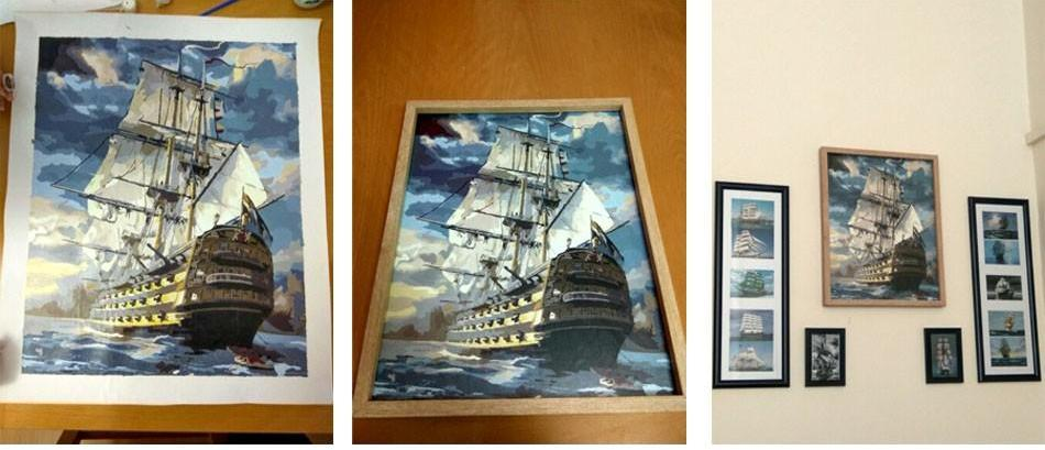 Paint by Numbers - Sailing Ship - Floating Style - Diamond Haft - Paint With Diamond