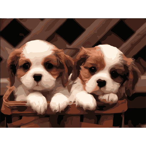 Immagine di Paint by Numbers - 2 Little Dogs - Stili fluttuanti - Ricamo a diamante - Dipingi con diamante