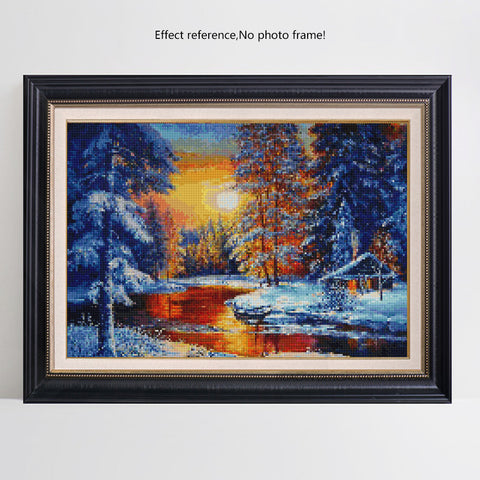 Pintura Diamante - Pôr do Sol no Campo de Neve - Estilos Flutuantes - Diamante Bordado - Pintar com Diamante